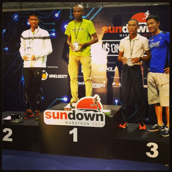 From left to right: Marcus Ong (2nd, from Singapore); Samson Kiplagat Tenai (1st, from Kenya); Jasman Gurung (3rd, from Nepal)