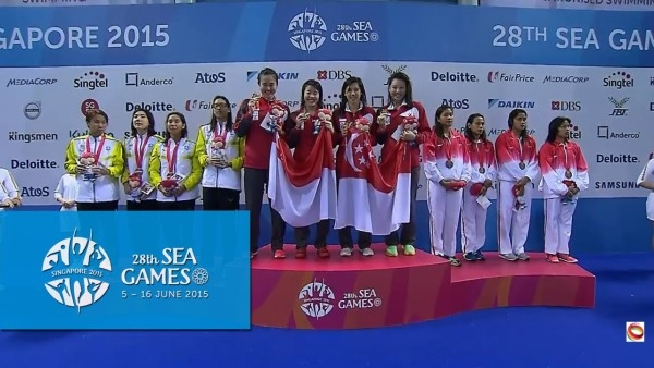 On the podium after the 4x200m freestyle. Photo by: Yahoo Sports.