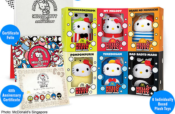Get your hands on a full Collector's Edition set of McDonalds Hello Kitty Bubbly World toys. (Photo from McDonalds Singapore).