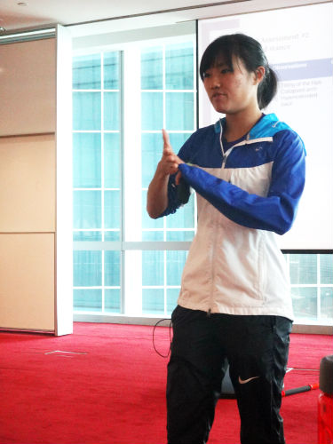 Mok Ying Rong gives a talk on running injury free.