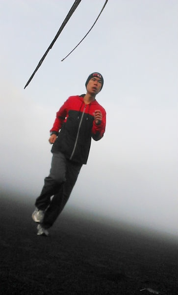 Hoong Wei Wong on a morning jog, at Mount Bromo, Surabaya, Indonesia, 2014.