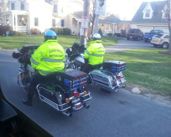 Two of the motorbikes escorting the mobility impaired runners to the starting line.