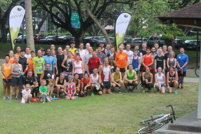 Triumphant runners at east coast park parkrun, in Singapore. (Image: Parkrun).