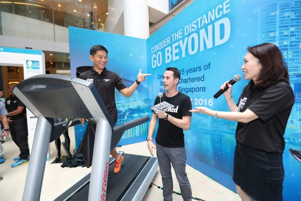 Mr Tan completes the Coached baseline test on the treadmill at the launch. Photo credit to SCMS.