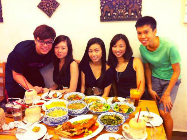 Enjoying Thai food with my friends. (Image: Alex Ong)