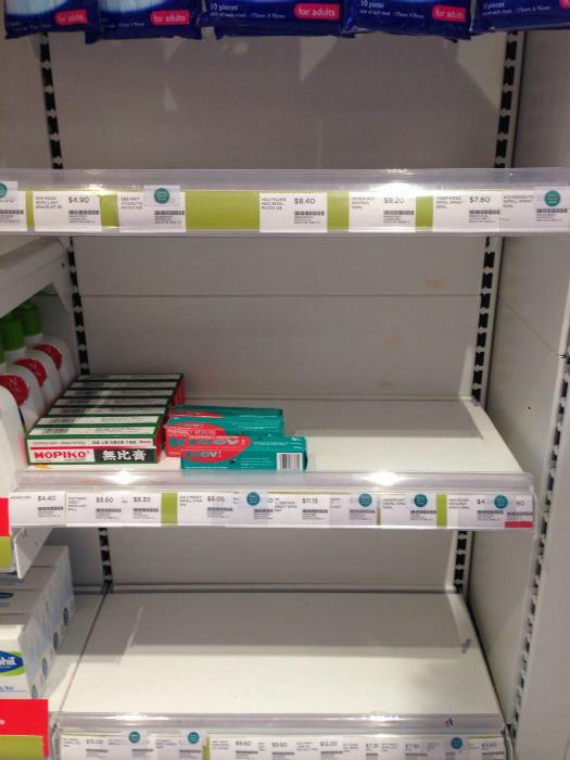 Empty shelves at Watson's.