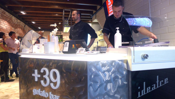 Cadorin (left) and Quaglia (right) behind the counter at +39 Gelato Bar.