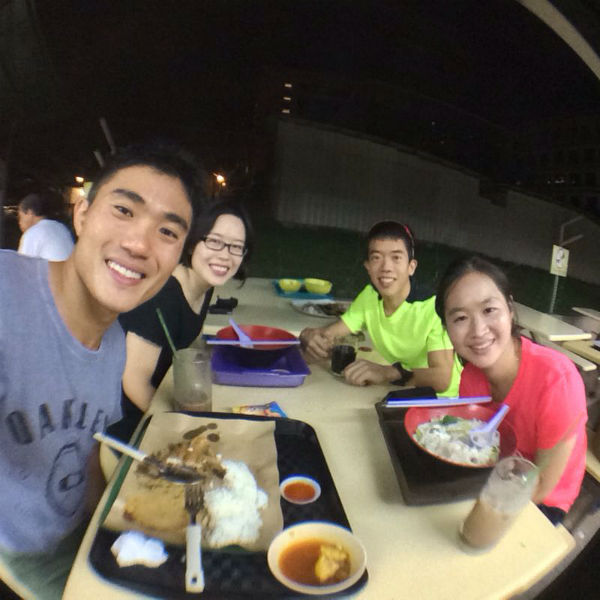 Post-workout dinner for Mok and Ivan!