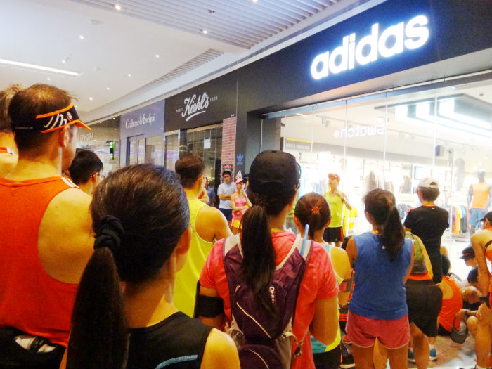 A shorr briefing for the runners, before embarking on the run.