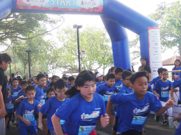 After the adults' 10km run, it's the Kid Dash (500m) at Run For Life.