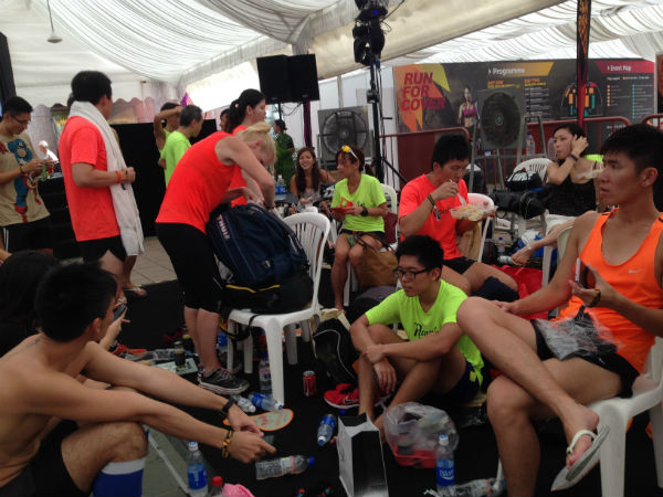 Participants chilling out after their epic run