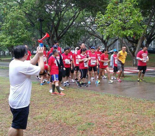 And... the Arsenal Singapore runners are about to be flagged off.