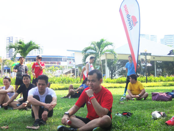 Runners are relaxing after a long, hard run.