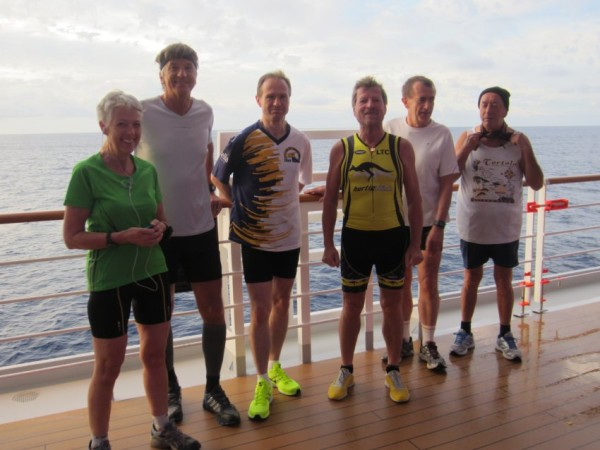 The group of runners, who attempted a full marathon on a cruise ship.