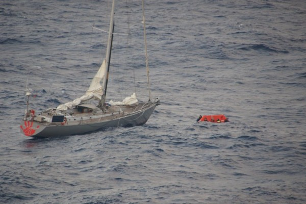 The sailing boat that required rescue.