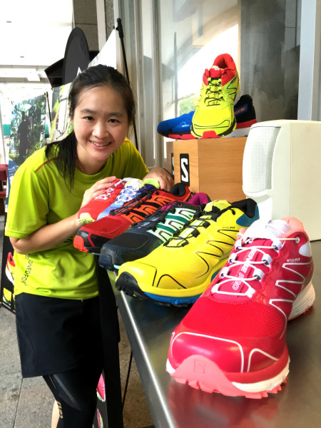 With a myriad of Salomon shoes at the launch event.