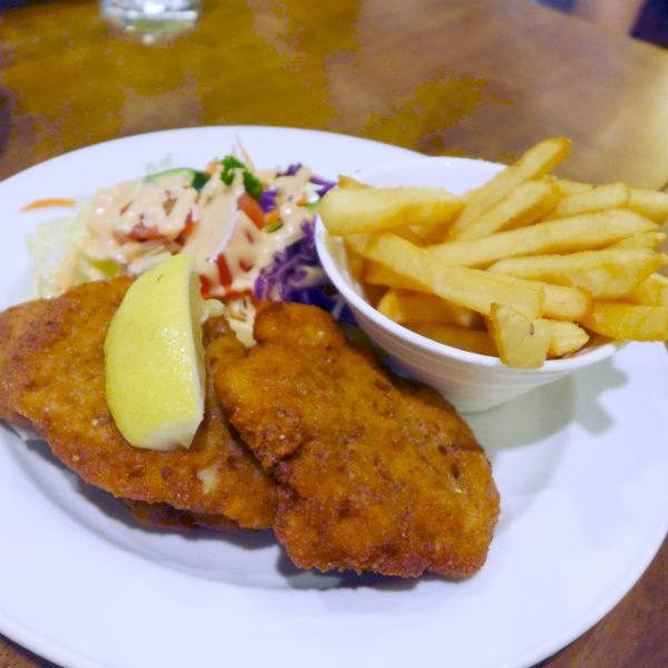 Pork schnitzel served with fries and salad.