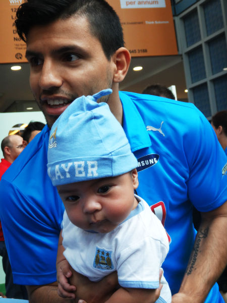 A future Manchester City striker and his mentor.