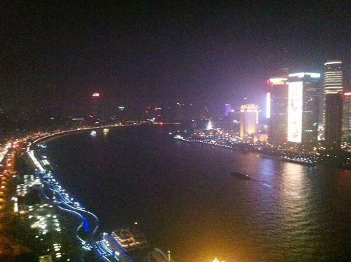 Night view of the famous Shanghai Bund from Char bar. (Picture courtesy of Jia Zhen).