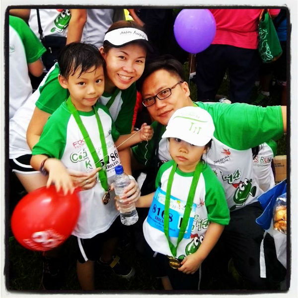 Shannon Heo (second from left) with her husband and two adorable kids, Cold Storage Kids Run, May 2014