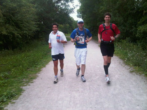Simon (centre) is running hard.  (Picture from Simon's Facebook)