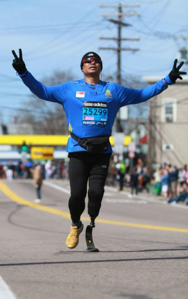 Singapore Blade runner is so thankful he can complete the Boston Marathon.