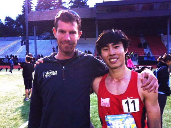 Soh (right) and his coach, Ian Dobson, whom he credits as helping him to achieve this record.