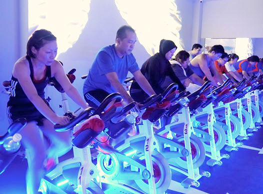 Participants are cycling furiously. (Image: Spinning Quest)