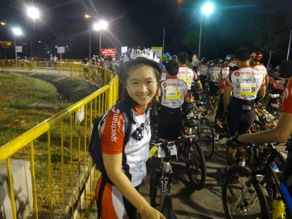 At the starting line of OCBC Cycle Singapore 2014.