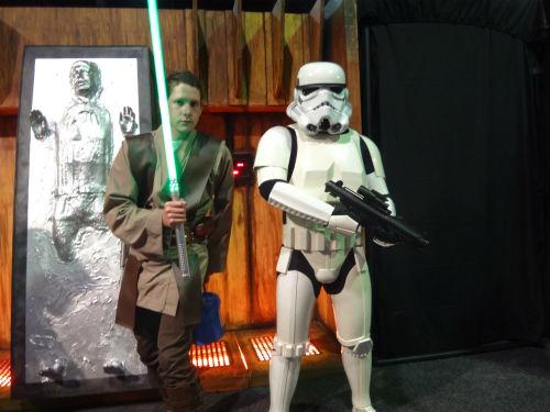 Star Wars Jedi and Stormtrooper.
