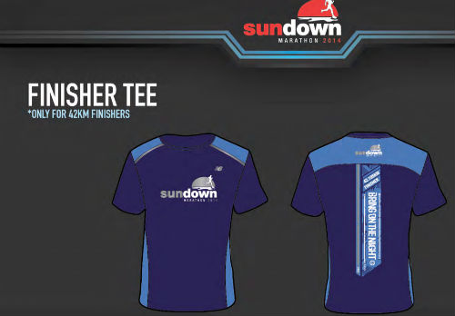 Finisher tee for Full Marathon (42km) finishers at Sundown Marathon 2014.