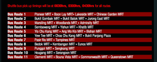 Bus routes for the Sundown Marathon this year.