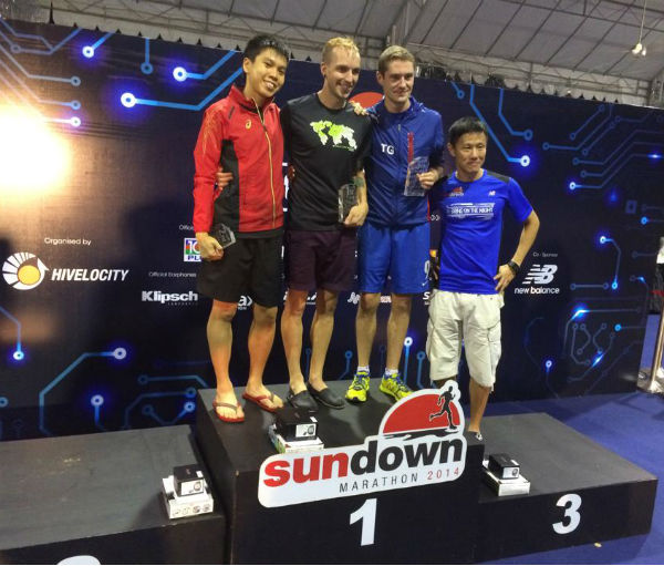 Winners of the 2014 Sundown Marathon. 42km Category, Men's. From left to right. Singaporean Alex Ong (second), American Russell Ericksen (winner) and Briton Thomas Greene (third).