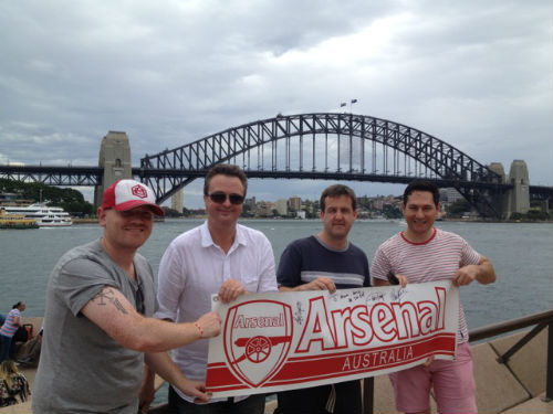 Peter (far left) with Gooners from Sydney, Australia. (Courtesy of Peter Anderson)