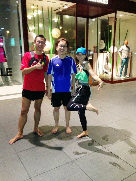 Hayden, Chee Kit and Anna after a barefoot run.