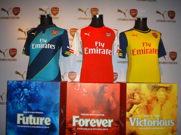The three new Arsenal kits.