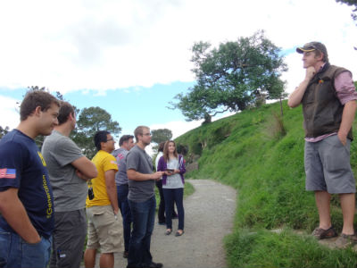 Our excellent Hobbiton tour guide at work.