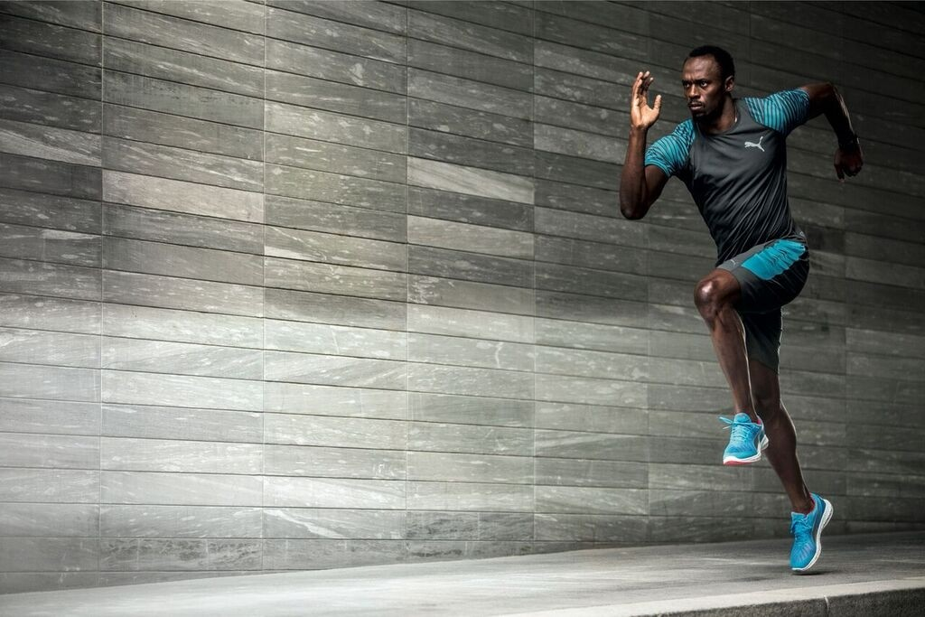 Usain Bolt, the World's Fastest Man, wears the Ignite Ultimate shoes. [Photo by Puma]