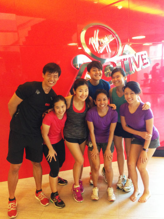 Happy but exhausted faces after our last training session with VIrgin Active - before the Bloomberg Square Mile race tomorrow.
