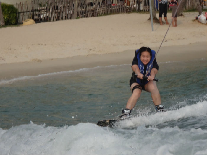 Trying out wakeboarding for the first time @ Sentosa.