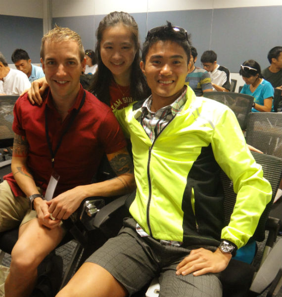 With Mok and Russell at the Run For Cover clinic.