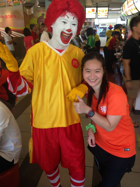 Ronald McDonald makes an appearance at the party, too!