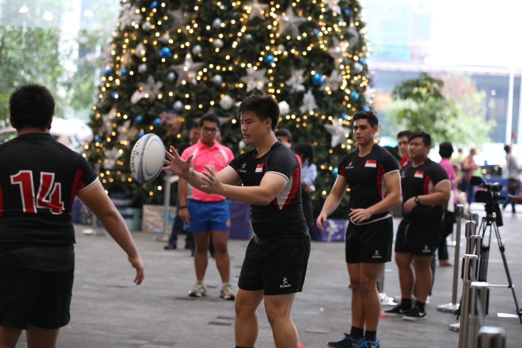 The world record attempt in progress. (Photo courtesy of Rugby Singapore)